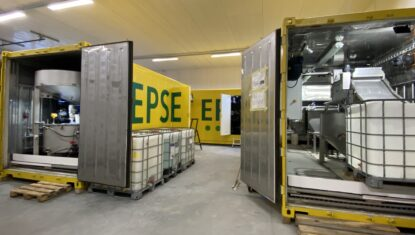 Mobile EPSE water treatment unit outside view.